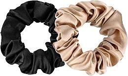 Kup Zestaw gumek-scrunchie do włosów z naturalnego jedwabiu, czarna i złota Midi - Makeup