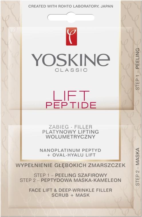 Zabieg-filler Platynowy lifting wolumeryczny - Yoskine Lift Peptide Face Lift and Deep Wrinkle Filler Face Scrub + Mask