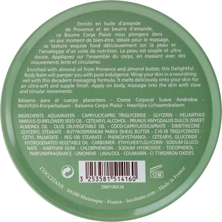 Balsam do ciała z olejem ze słodkich migdałów - L'Occitane Almond Delightful Body Balm — фото N2