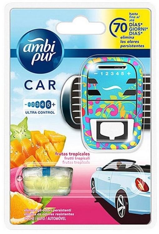 Zestaw do samochodu, dyfuzor + wkłady zapachowe, owoce tropikalne - Ambi Pur (freshener/1szt+refill/7ml) — фото N1