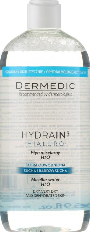 Płyn micelarny H2O do cery suchej, bardzo suchej i odwodnionej - Dermedic Hydrain3 Hialuro