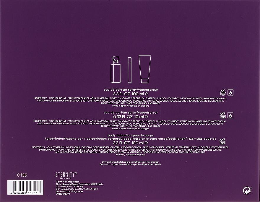 Calvin Klein Eternity For Woman - Zestaw (edp 100 ml + edp 10 ml + b/l 100 ml) — фото N2