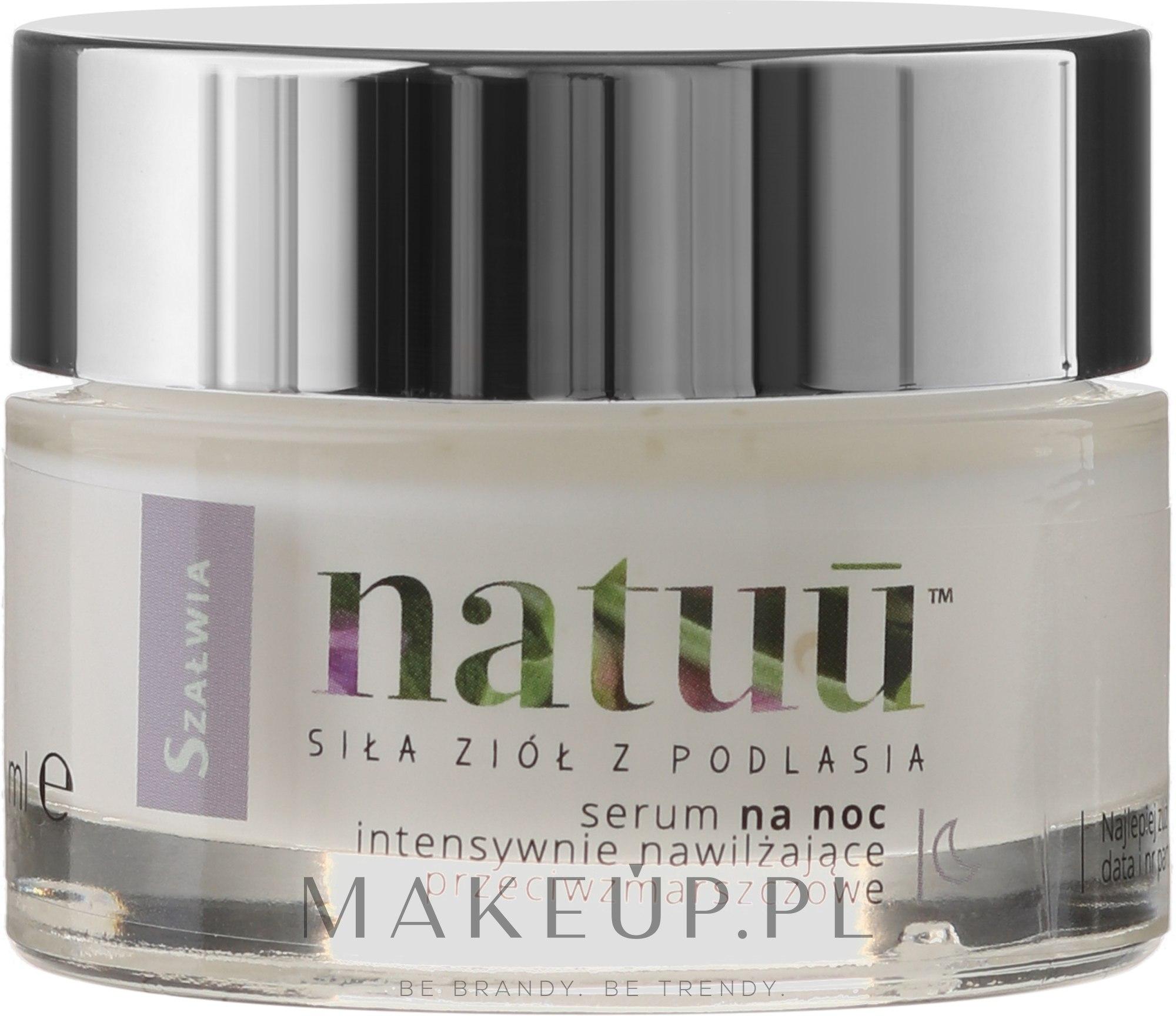 Intensywnie nawilżające przeciwzmarszczkowe serum na noc z ekstraktem z szałwii czerwonej - Natuu Smooth & Lift — фото 50 ml
