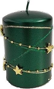 Świeca dekoracyjna, zielona 7x10 cm - Artman Christmas Garland — фото N1