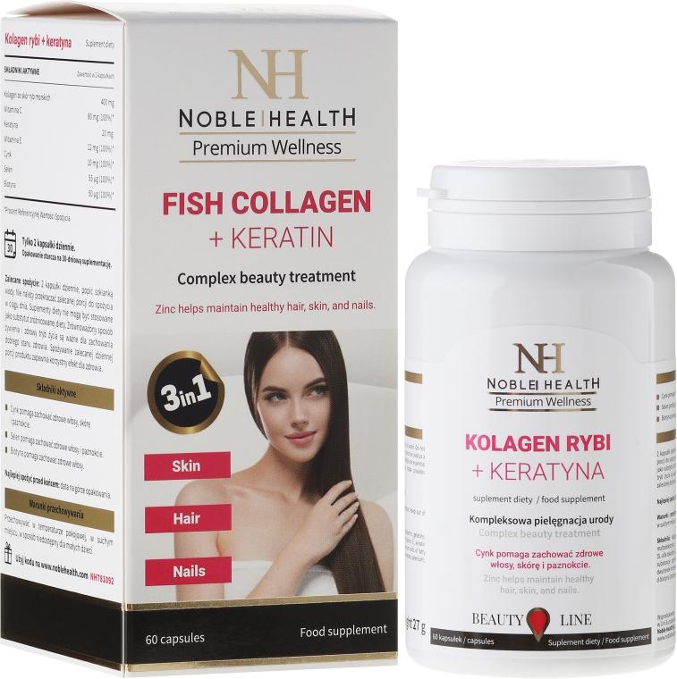 Kolagen rybi + keratyna na włosy, skórę i paznokcie - Noble Health Kolagen + Ceratin