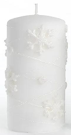 Świeca dekoracyjna, biała 7x14 cm - Artman Snowflake Application — фото N1