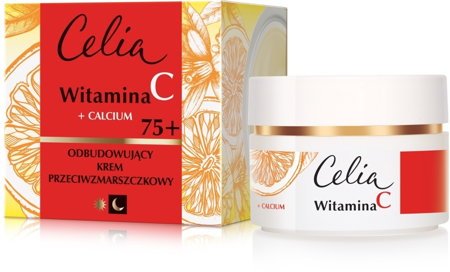 Odbudowujący krem przeciwzmarszczkowy na dzień i noc Witamina C + wapń 75+ - Celia Witamina C