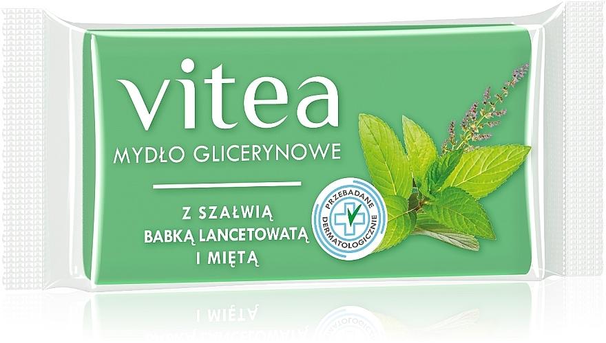 Mydło glicerynowe w kostce z szałwią, babką lancetowatą i miętą - Vitea