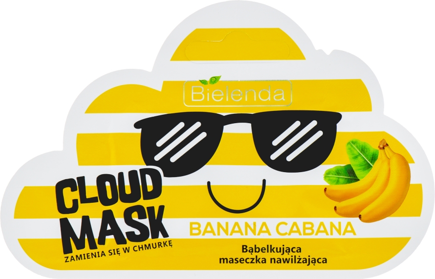 Bąbelkująca maseczka nawilżająca do twarzy Banana Cabana - Bielenda Cloud Mask