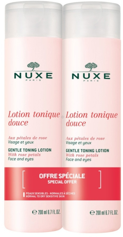 Zestaw - Nuxe Gentle Toning Lotion With Rose Petals (ton/2x200ml) — фото N1