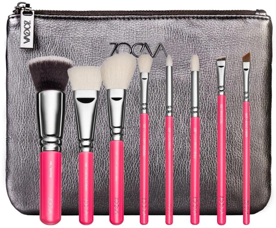 Zestaw pędzli do makijażu w kosmetyczce - ZOEVA Pink Elements Classic Set (8 brushes + clutch) — фото N1