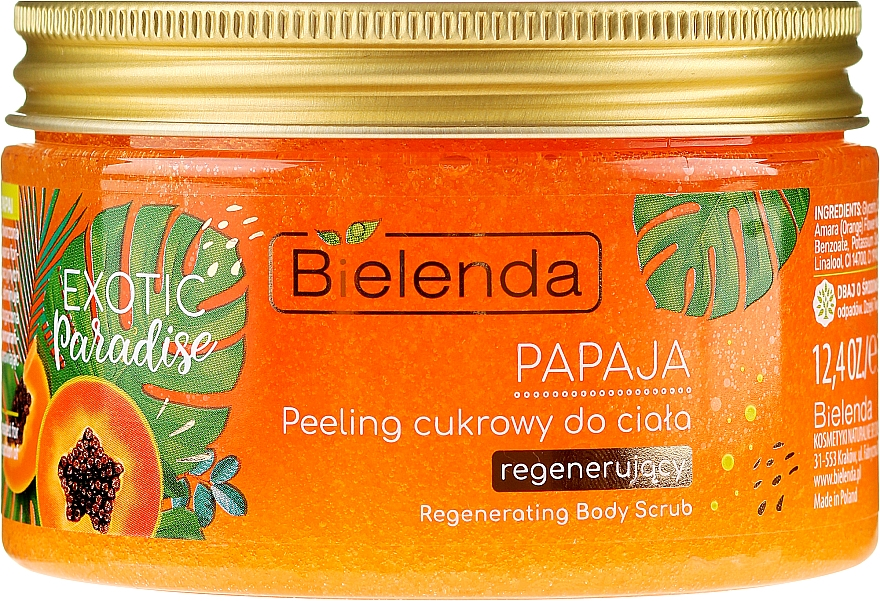 Regenerujący peeling cukrowy do ciała Papaja - Bielenda Exotic Paradise Peel