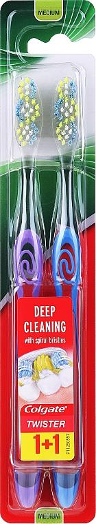 Szczoteczki do zębów, średnia twardość, niebieska + fioletowa - Colgate Twister Medium — фото N1