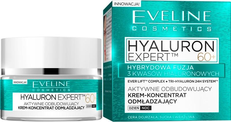 Aktywnie odbudowujący krem-koncentrat odmładzający na dzień i noc 60+ - Eveline Cosmetics Hyaluron Expert 60+