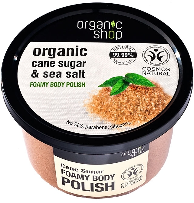Pieniący się scrub do ciała Cukier trzcinowy - Organic Shop Foamy Body Scrub Organic Cane Sugar & Sea Salt