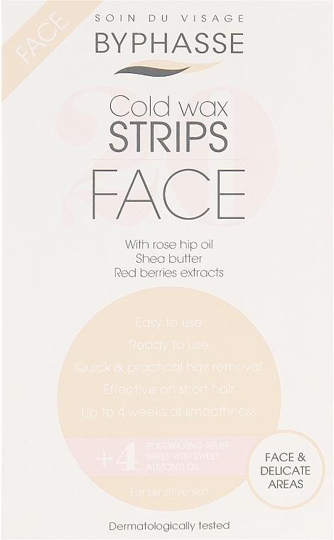 Paski z zimnym woskiem do depilacji twarzy i delikatnych stref - Byphasse Cold Wax Strips Face & Delicate Areas For Sensitive Skin — фото N1