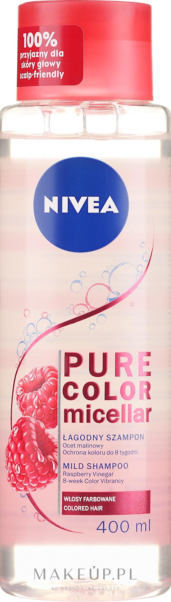 Szampon micelarny do włosów farbowanych i z pasemkami - Nivea Pure Color Micellar Shampoo — фото 400 ml