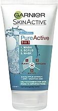 Kup Żel oczyszczający, maska i peeling do twarzy - Garnier Pure Active 3-in-1 Wash, Scrub and Mask
