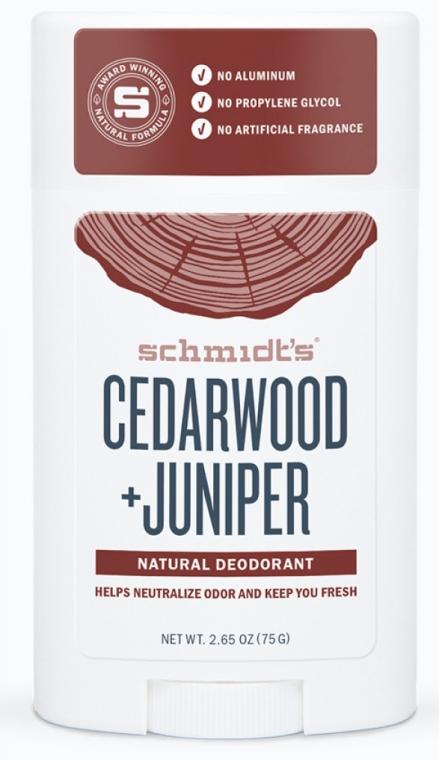 Naturalny dezodorant w sztyfcie Cedr i jałowiec - Schmidt's Deodorant Cedarwood Juniper — фото N1