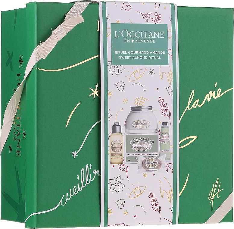 Zestaw - L'Occitane Almond Body Box (sh/oil 75 ml + b/milk 200 ml + soap 50 g + h/cr 30 ml + box) — фото N1