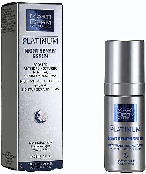 Rewitalizujące serum do twarzy na noc - MartiDerm Platinum Night Renew Serum — фото N1