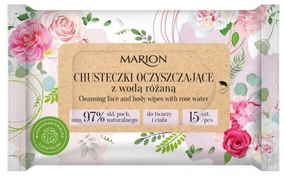 Oczyszczające chusteczki z wodą różaną, 15szt. - Marion