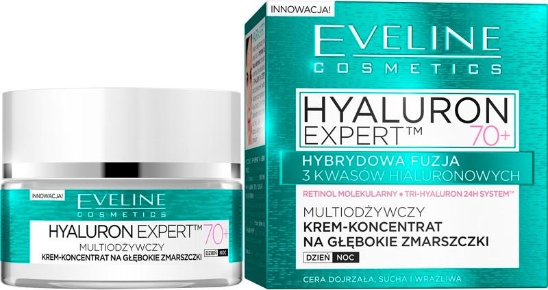 Multiodżywczy krem-koncentrat na głębokie zmarszczki na dzień i noc 70+ - Eveline Cosmetics Hyaluron Expert