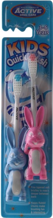 Szczoteczki do zębów dla dzieci 3–6 lat, króliczki, różowa + niebieska - Beauty Formulas Kids Quick Brush