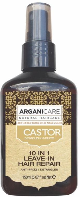 Serum do włosów przeciw puszeniu bez spłukiwania z olejem rycynowym 10 w 1 - Argaincare Castor Oil 10-in-1 Hair Repair