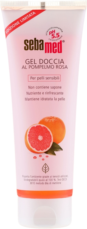 Odżywczo-orzeźwiający żel pod prysznic do skóry wrażliwej Grejpfrut - Sebamed Shower Gel With Grapefruit Nourishes And Refreshes — фото N3