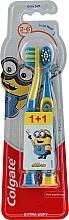 Kup Ekstramiękka szczoteczka do zębów dla dzieci 2-6 lat, niebiesko-żółta + żółto-niebieska, Minionki - Colgate Smiles Kids Extra Soft