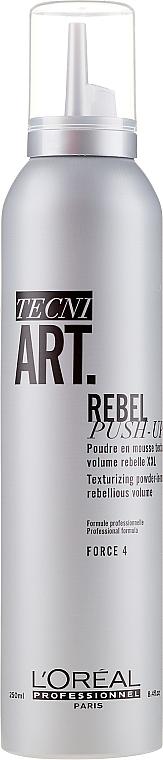 Pudrowy mus do tworzenia tekstur i ultraobjętości włosów - L'Oreal Professionnel Tecni.Art Rebel Push-Up Texturizing Powder-In-Mousse