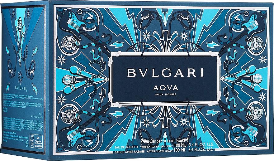 Bvlgari Aqva Pour Homme - Zestaw (edt 100 ml + ash/balm 100 ml + bag) — фото N1