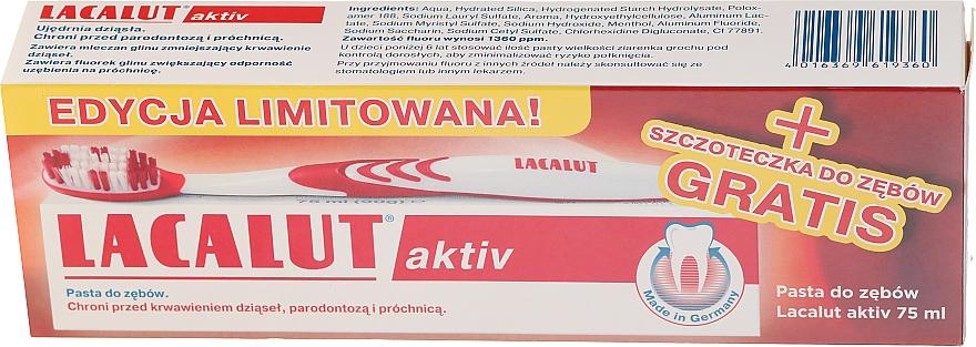 Zestaw Pasta do zębów Activ paradontoza + szczoteczka do zębów - Lacalut Activ Paradontosis