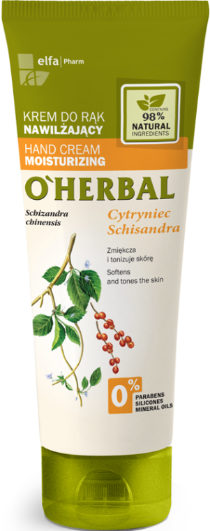 Nawilżający krem do rąk z ekstraktem z cytryńca chińskiego - O'Herbal