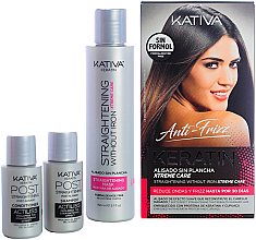Kup Zestaw - Kativa Anti-Frizz Straightening Without Iron Xtreme Care (mask 150 ml + shm 30 ml + cond 30 ml)