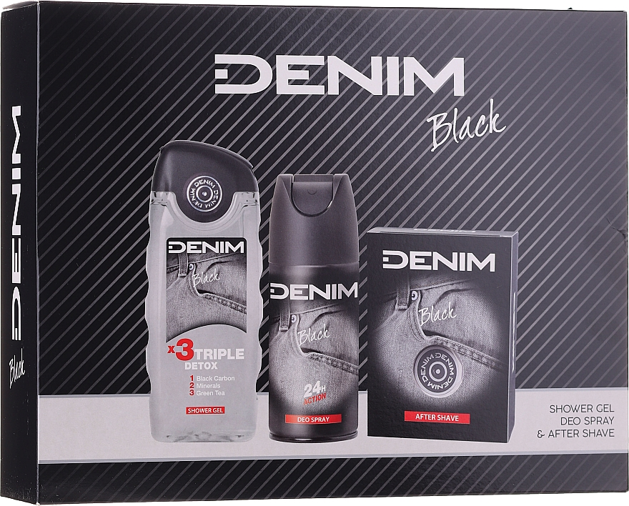 Denim Black - Zestaw (ash/lot 100 ml + deo/spray 150 ml + sh/gel 250 ml)