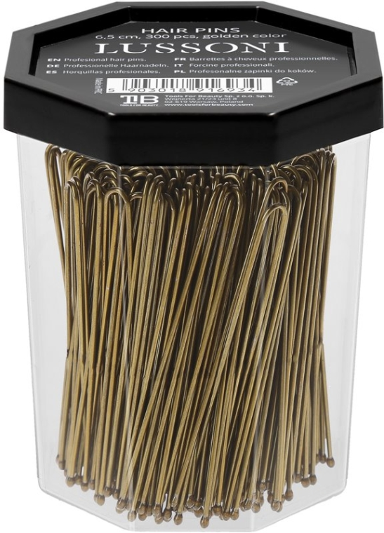 Wsuwki do włosów, proste, złote - Lussoni Hair Pins 6.5 cm  — фото N2