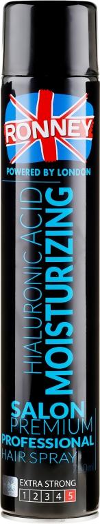 Nawilżający lakier do włosów z kwasem hialuronowym - Ronney Professional Hyaluronic Moisturizing Hair Spray