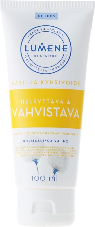 Wzmacniający krem do dłoni i paznokci z wyciągiem z arktycznej bawełny - Lumene Klassikko Glow & Strengthen Hand & Nail Cream