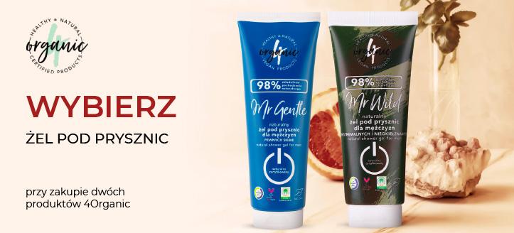 Przy zakupie dwóch produktów 4Organic, żel pod prysznic otrzymasz w prezencie.