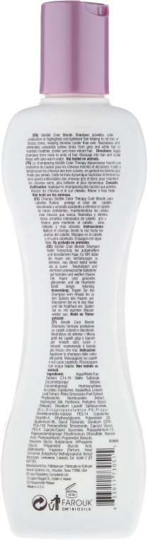 Szampon neutralizujący żółtawe odcienie - BioSilk Color Therapy Cool Blonde Shampoo — фото N2