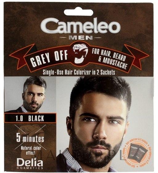 Jednorazowa farba do natychmiastowej koloryzacji siwych włosów, brody i wąsów - Delia Cameleo Men — фото 1.0 - Black