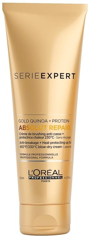 Termoochronny krem do bardzo zniszczonych włosów - L'Oreal Professionnel Serie Expert Absolut Repair Gold Quinoa + Protein Blow-Dry Cream