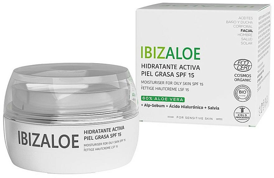 Nawilżający krem dla skóry tłustej - Ibizaloe Moisturizing Cream SPF15 For Oily Skin — фото N1