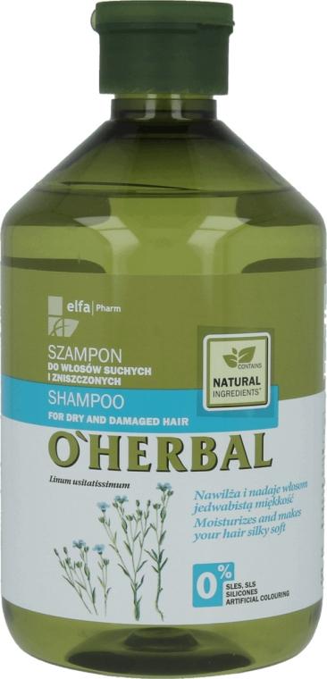 Szampon z ekstraktem z lnu do włosów suchych i zniszczonych - O'Herbal