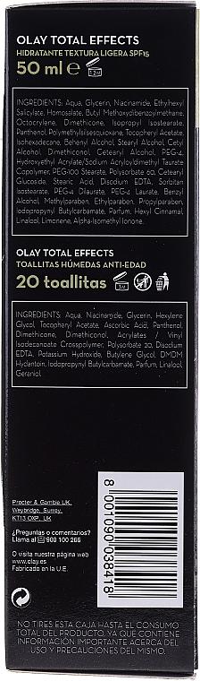 Zestaw - Olay Total Effects 7 (cr 50 ml + 20 x wipes) — фото N4