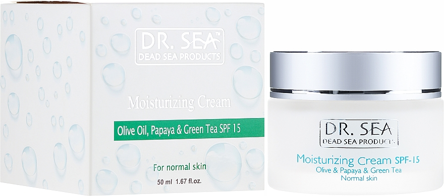 Nawilżający krem do twarzy Oliwa, papaja i zielona herbata SPF 15 - Dr. Sea Moisturizing Cream With Olive Oil, Papaya And Green Tea Extracts — фото N1