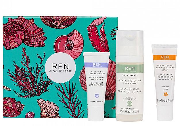 Zestaw - REN Face Favourites Gift Set (f/mask/15ml + f/cre/50ml + serum/10ml) — фото N1