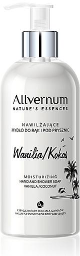 Nawilżające mydło do rąk i pod prysznic Wanilia i kokos - Allvernum Nature's Essences